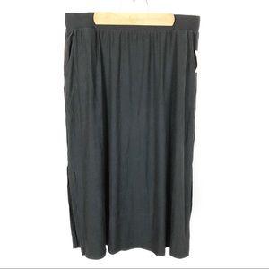 (P-18) Terra & Sky Black Maxi Skirt Size 0X 14W